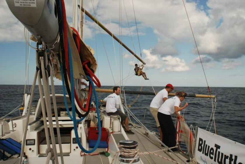 A voyage in search of sea trash brings hard work and a rare opportunity to visit the middle of the Pacific Ocean aboard a 72-foot racing ship.