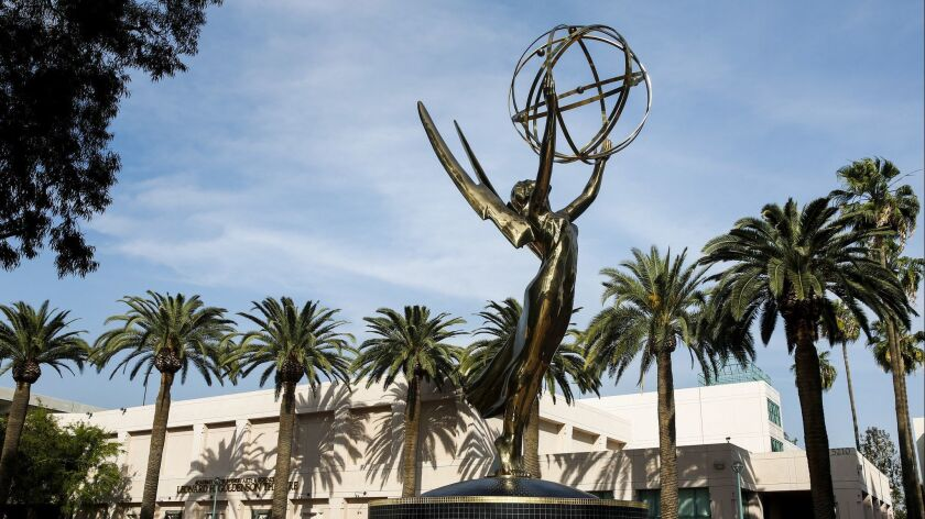 NORTH HOLLYWOOD, CA--MARCH 6, 2014--A giant Emmy statue sits atop a fountain in front of the Academy