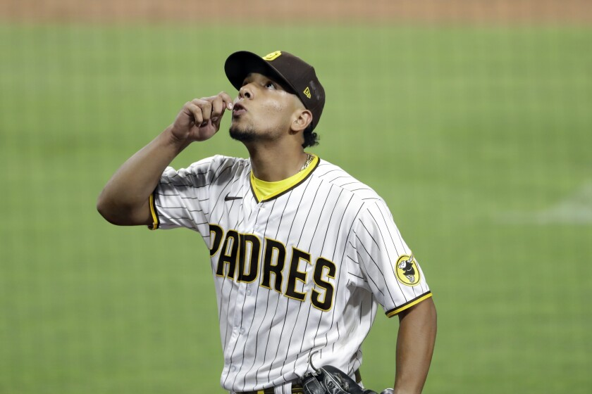 Padres pitcher Luis Patino during game last month.