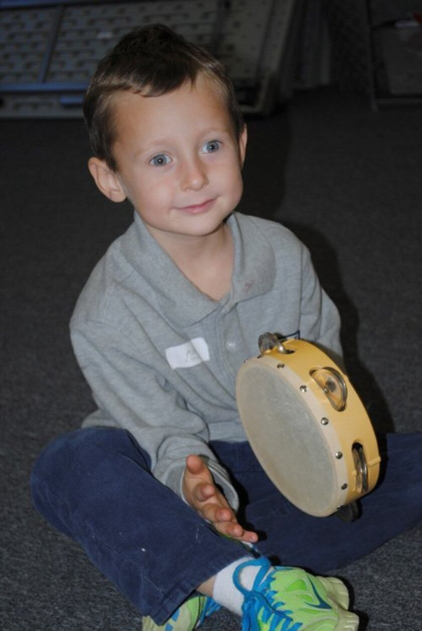 """Aiden Calabrese tries out music class at Horizon Prep's """"Kindergartner for a Day!"""""""