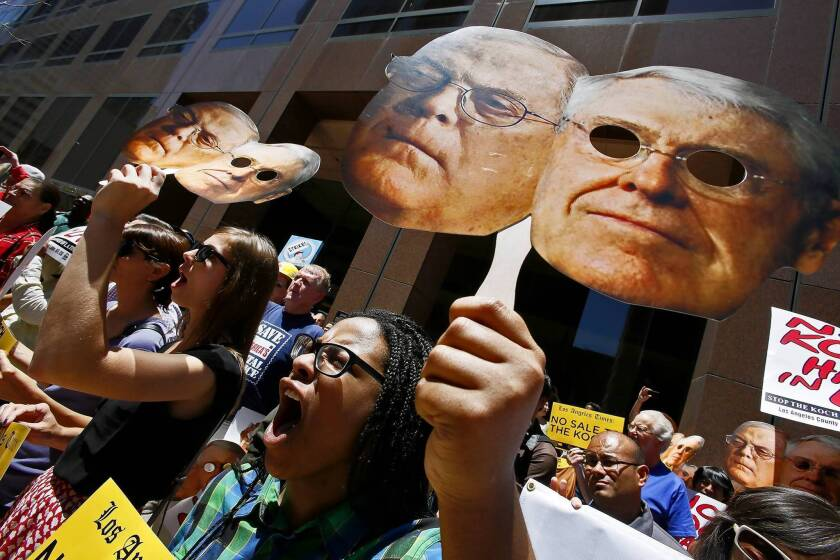 Unions protest over potential sale of L.A. Times to Koch brothers