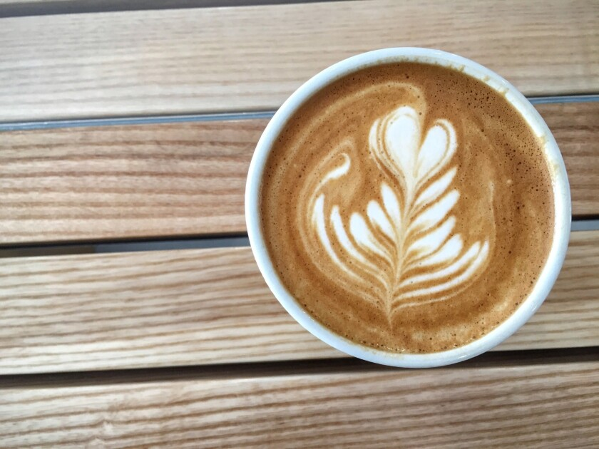 A cappuccino at the Assembly, a new coffee shop in West Hollywood.