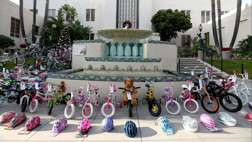 Burbank Bike Angels held a press conference to show off dozens of bicycles, in front of city hall in
