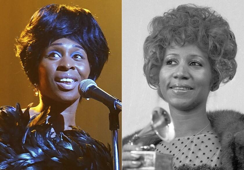 En esta combinación de fotografías Cynthia Erivo interpreta a Aretha Franklin