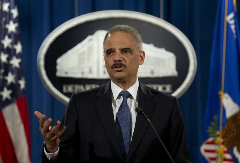 Atty. Gen. Eric Holder speaks at the Justice Department in Washington last week.