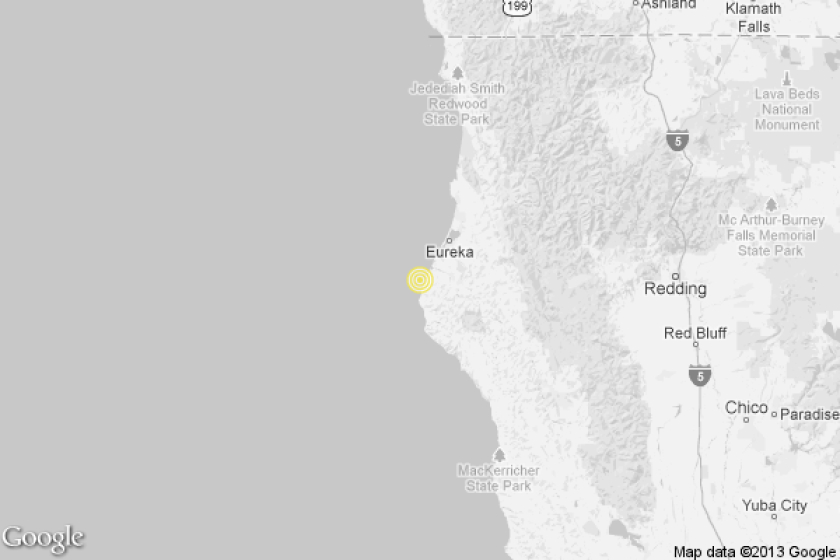 A map showing the location of the epicenter of Tuesday morning's quake.