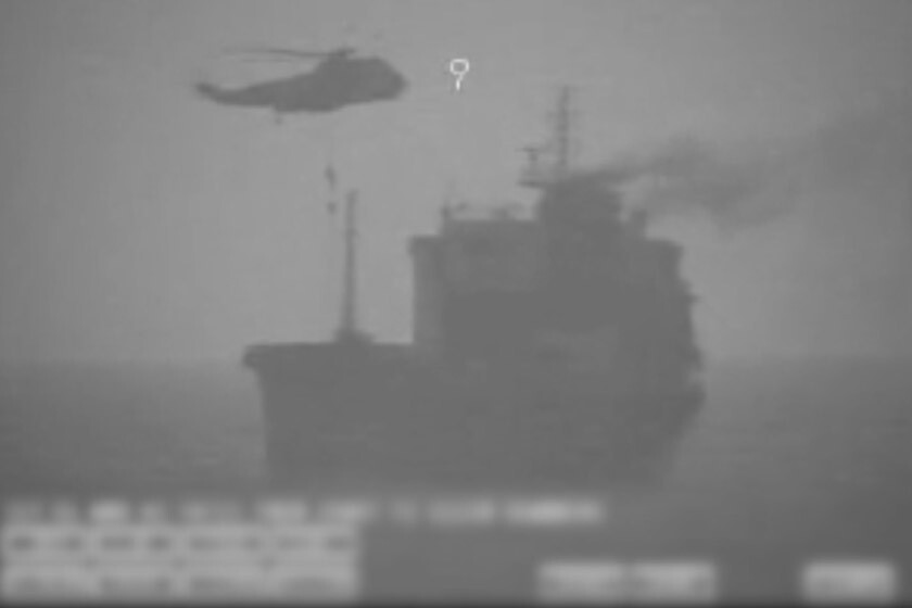 Video released by the U.S. appears to show Iranian commandos fast-roping down from a helicopter onto the MV Wila oil tanker