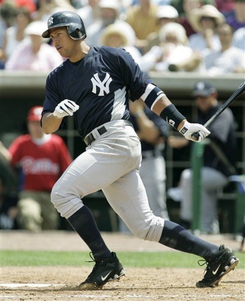 New York Yankees' Alex Rodriguez swings against the Philadelphia Phillies in the sixth inning of a Grapefruit League spring training baseball game in Clearwater, Fla., Wednesday, March 26, 2008. (AP Photo/Paul Sancya)