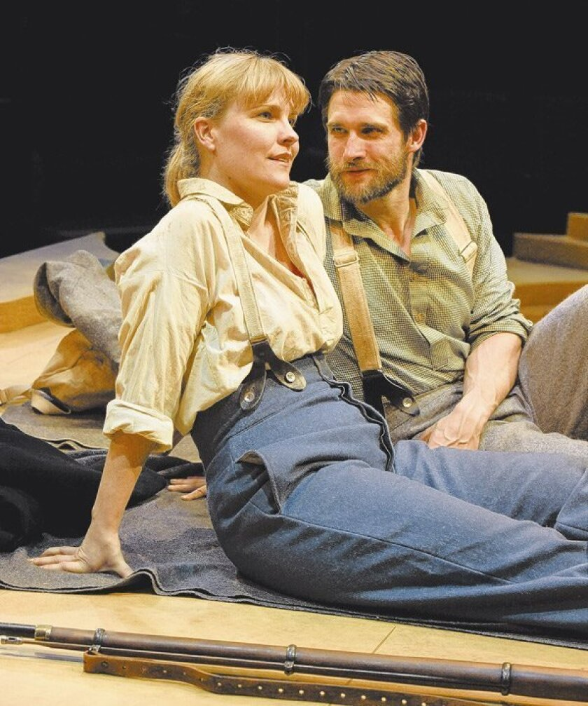 """Kelly McAndrew is Carla Keenan and James Knight is Zachariah Clemenson in Kenny Finkle's romantic comedy """"Alive and Well"""" at the Old Globe's White Theatre."""