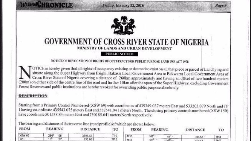 Notice of revocation of rights of occupancy from the government of Cross River state, Nigeria, that was published in local newspapers in January 2016.