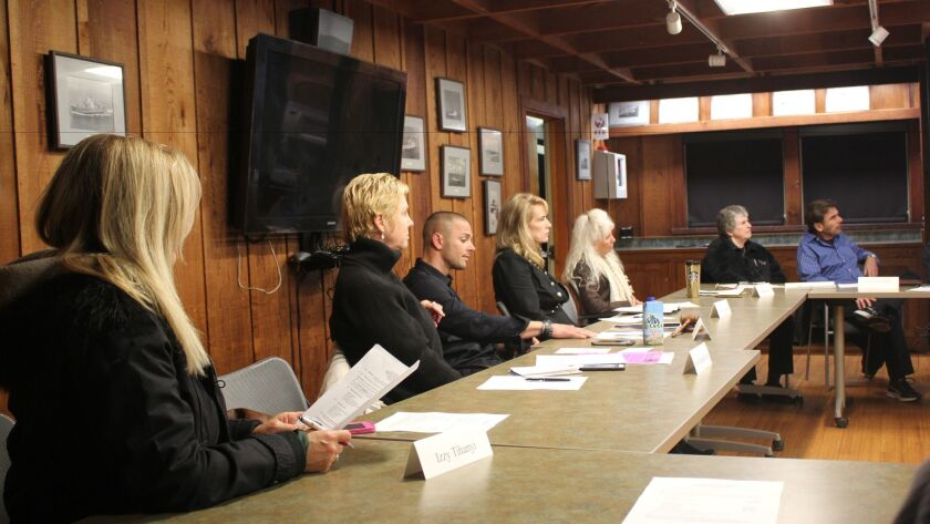 La Jolla Shores Association board members Izzy Tihanyi, Angie Preisendorfer, chair Nick LeBeouf, Susan Tschirn, Terry Kraszewski, Mary Coakley Munk and John Sheridan listen to a presentation during the Feb. 8 meeting.