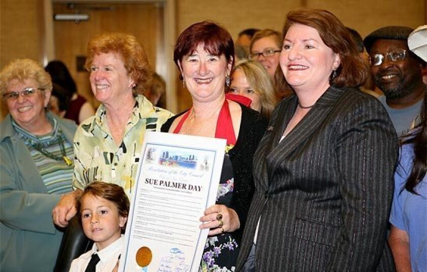 State Assembly speaker Toni Atkins (at right, then a San Diego City Council rep) proclaims Sue Palmer Day in the City of San Diego, March 25, 2008.