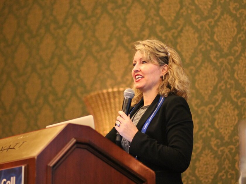 UCSD cancer researcher Catriona Jamieson, M.D., talks about how her work has been helped by studying stem cells. She spoke at a public forum on stem cells Tuesday evening at the opening of the World Stem Cell Summit.