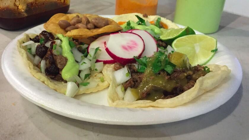 Asada tacos with salsa macha at Mi Ranchito.
