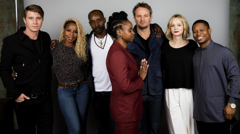 "Garrett Hedlund, Mary J. Blige, Rob Morgan, director Dee Rees, actor Jason Clarke, Carey Mulligan, and Jason Mitchell from the film ""Mudbound."""