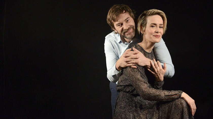 """Sarah Paulson and Mark Duplass star in the quiet romance """"Blue Jay."""""""