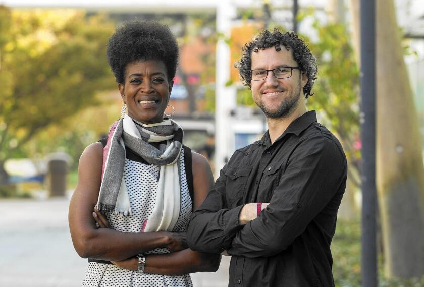 Romarilyn Ralston, left, and Brady Heiner are in charge of Project Rebound at Cal State Fullerton. Project Rebound supports formerly incarcerated individuals on their journey to successfully reintegrate into a college setting. Photo taken on Thursday, October 13, 2016.