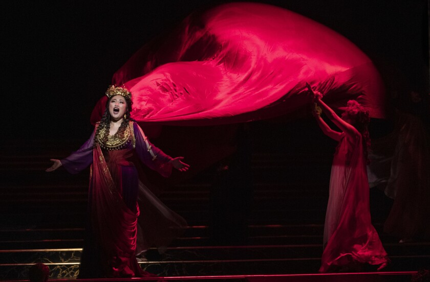 LOS ANGELES, CA-FEBRUARY 28, 2019: Guanqun Yu, as Vitellia, daughter of the deposed Emperor, in th