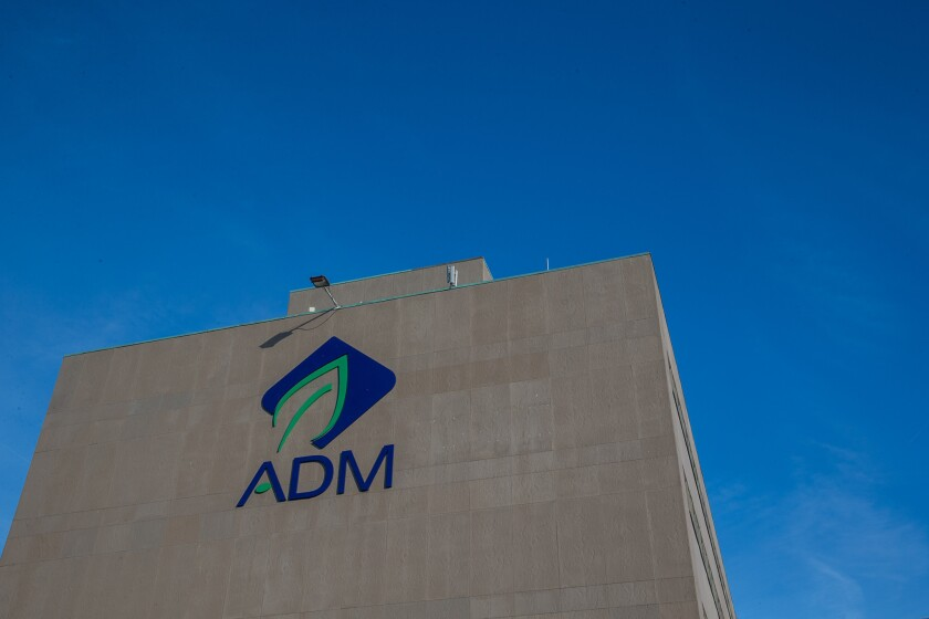 Chicago-based agribusiness company Archer Daniels Midland reported a surge in profit on higher global demand for U.S. grains.