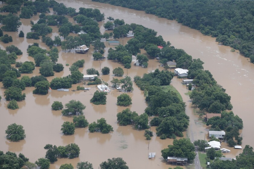 The Brazos River overran its banks.