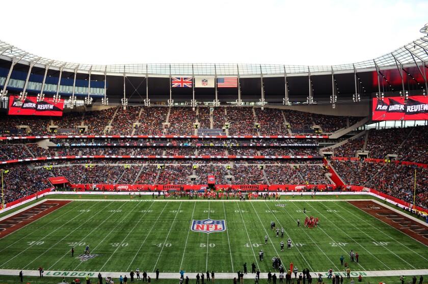 London's Tottenham Hotspur Stadium with an NFL playing field.