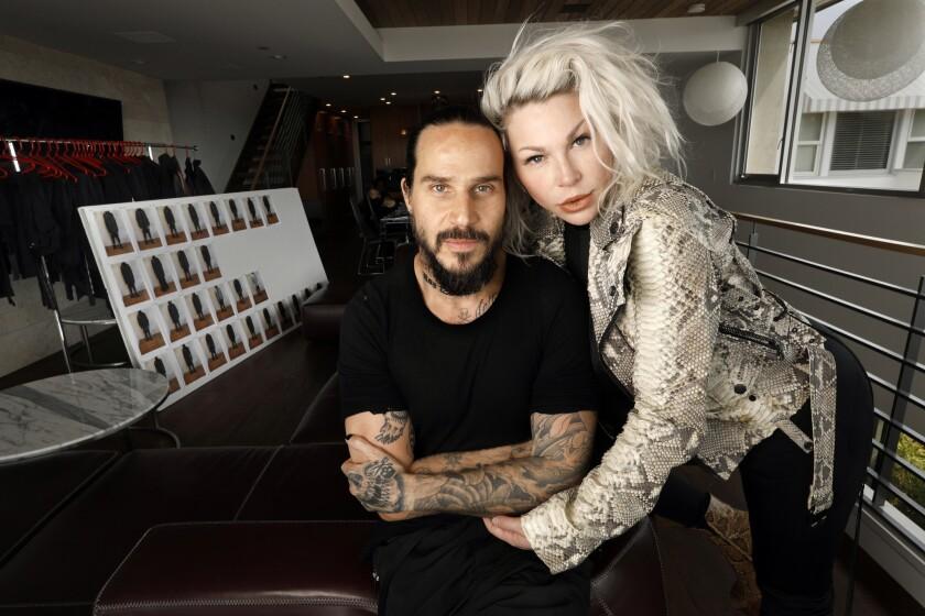 HERMOSA BEACH, CALIFORNIA--MARCH 19, 2019--Clothing designers Ben Taverniti and Joyce Taverniti work