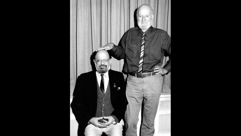 Allen Ginsberg (left) and Lawrence Ferlinghetti together in 1988.
