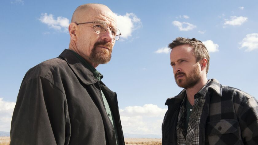 "AMC's ""Breaking Bad"" stars Bryan Cranston, left, and Aaron Paul."