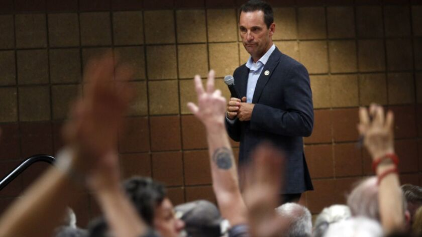 SIMI VALLEY, CA - APRIL 18, 2017 -- Rep. Steve Knight (R-Palmdale) looks over a seas of people who