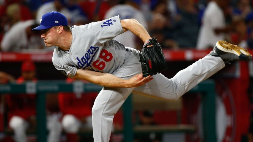 ANAHEIM, CALIF. - JUNE 10: Los Angeles Dodgers relief pitcher Ross Stripling (68) pitches against th