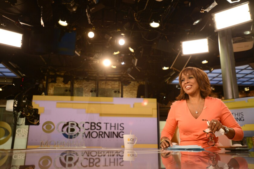 """Co-anchor Gayle King on the set of """"CBS This Morning""""."""