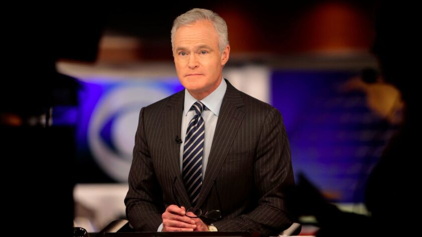 """Scott Pelley at the anchor desk of the """"CBS Evening News"""" in February 2015."""