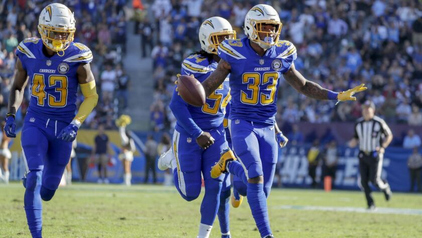 CARSON, CA, SUNDAY, NOVEMBER 25, 2018 - Chargers safety Derwin James celebrates after intercetpting