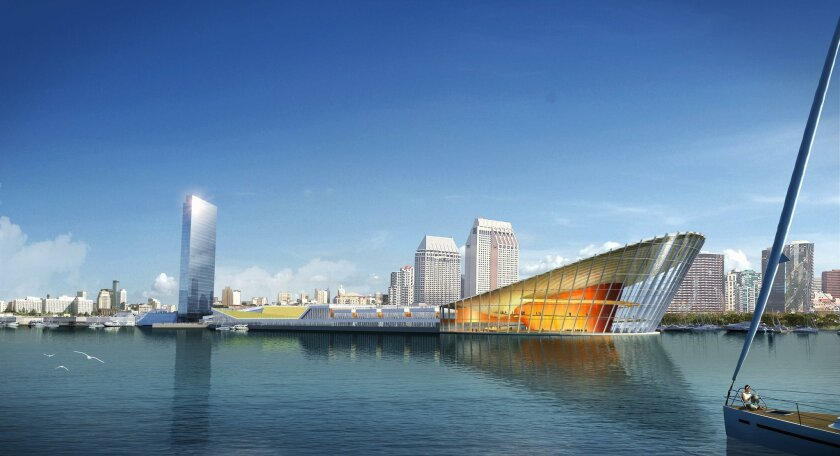 JCJ Architecture, designed a vision of the port that includes soaring hotel and a massive waterfront arts and entertainment center resembling the prow of a ship. The Unified Port of San Diego is looking to remake the landmark.