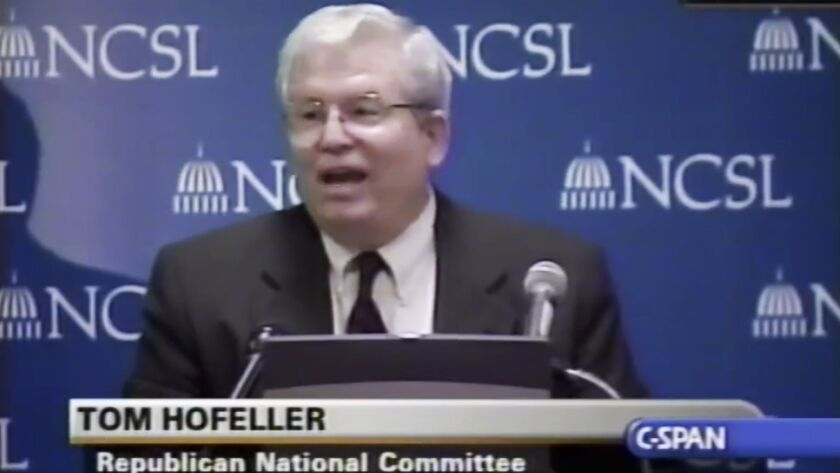 In this Aug. 13, 2001, file frame from video provided by C-SPAN, Tom Hofeller speaks during an event