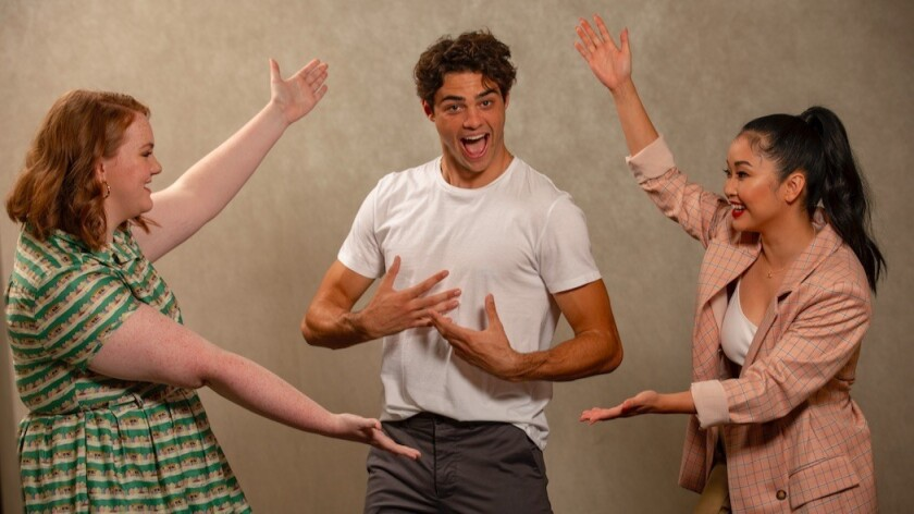 """Shannon Purser, left, Noah Centineo and Lana Condor, his co-stars, respectively, in """"Sierra Burgess Is a Loser"""" and """"To All the Boys I've Loved Before."""""""