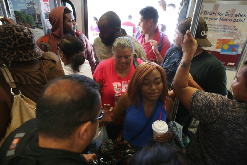 Riders crowd into the Metro Expo Line, which runs between downtown Los Angeles and Santa Monica.