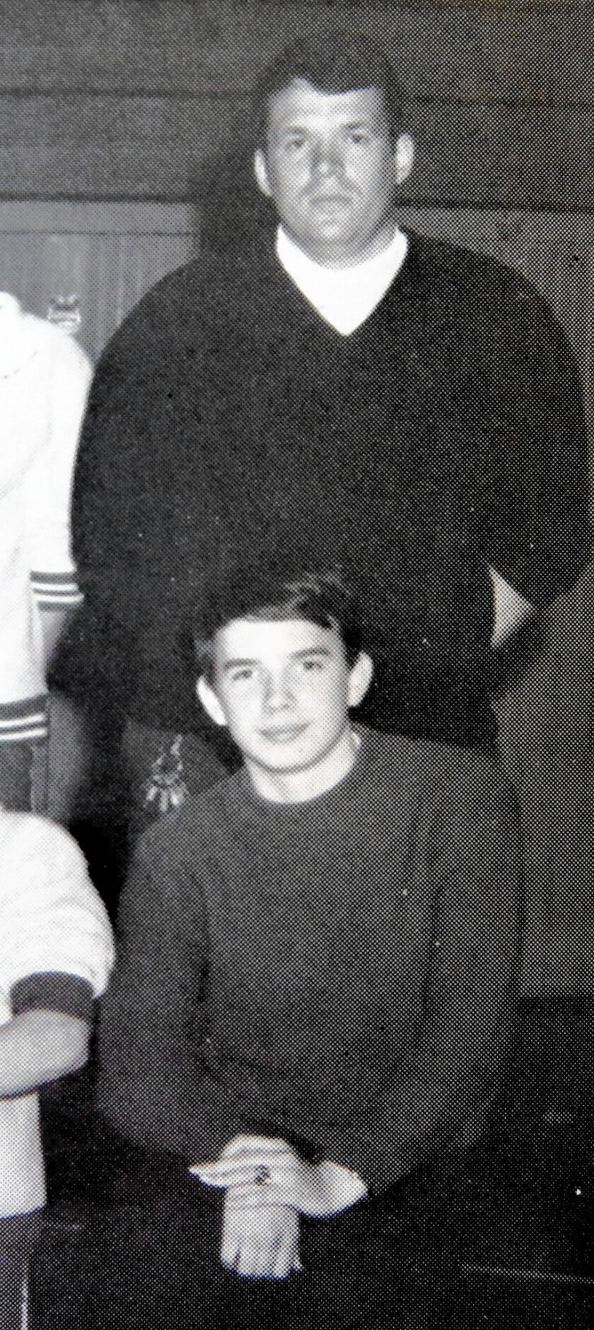 Then-teacher and coach Dennis Hastert with Stephen Reinboldt (below) in the 1970 Yorkville High School yearbook. Reinboldt's sister has alleged that he told her Hastert sexually abused him during his high school years. Reinboldt died in 1995.