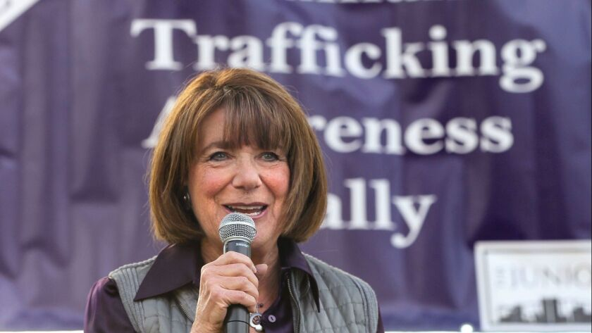 U.S. Congresswoman Susan Davis speaks at the Human Trafficking Awareness Rally in Balboa Park at 6th. Avenue and Laurel Street.