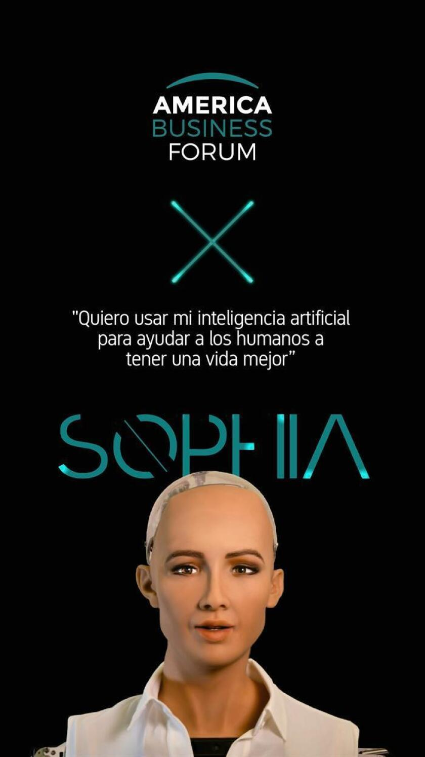 Poster for the America Business Forum in Montevideo this Saturday, Dec. 22, 2018, featuring Sophia, the world's first robot citizen, who along with other game-changers in different areas will present their case histories and give their vision of Latin America's future. EFE-EPA/America Business Forum