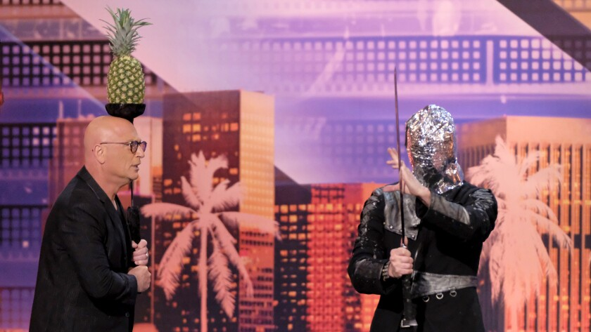 "Howie Mandel and Aaron Crow in ""America's Got Talent"" on NBC."