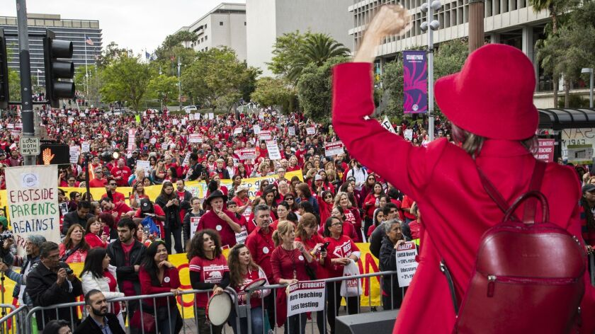 Thousands of teachers filled Grand Park in late May for a rally for better pay and working conditions. Contract negotiations with L.A. Unified School District are at an impasse.