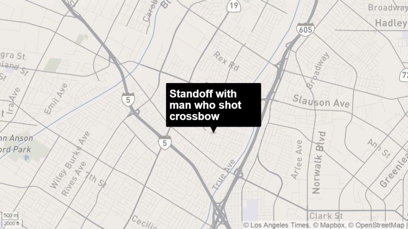 A man was involved in a six-hour standoff with a sheriff's SWAT team in Pico Rivera.
