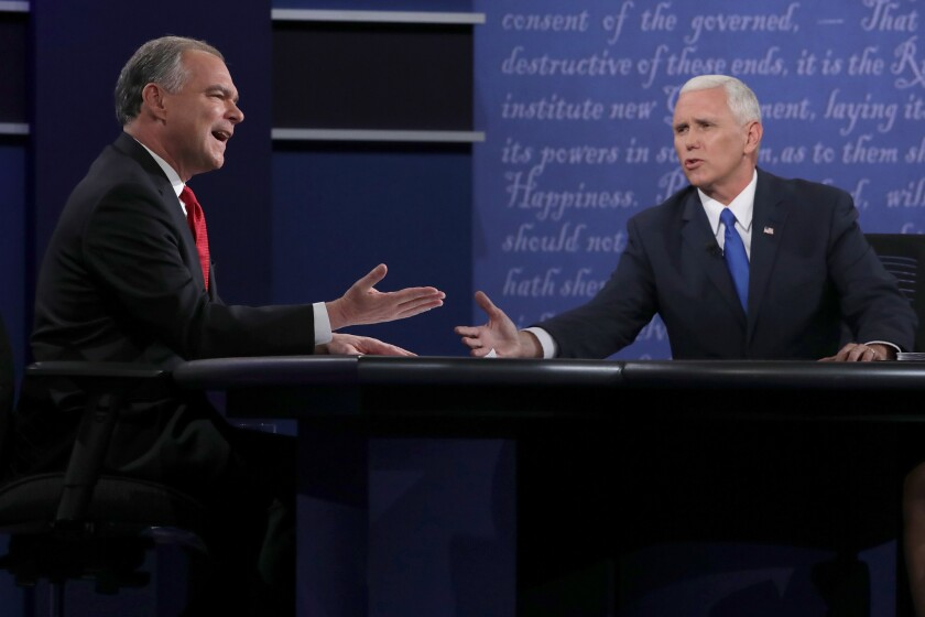 Democratic vice presidential nominee Tim Kaine, left, and Republican vice presidential nominee Mike Pence during their Tuesday debate in Farmville, Pa.