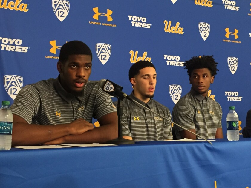 UCLA's Cody Riley, left, LiAngelo Ball, center, and Jalen Hill speak during a press conference on No. 15, 2017.