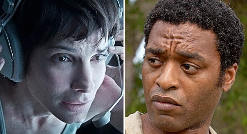 """Sandra Bullock in """"Gravity"""" and Chiwetel Ejiofor in """"12 Years a Slave."""""""
