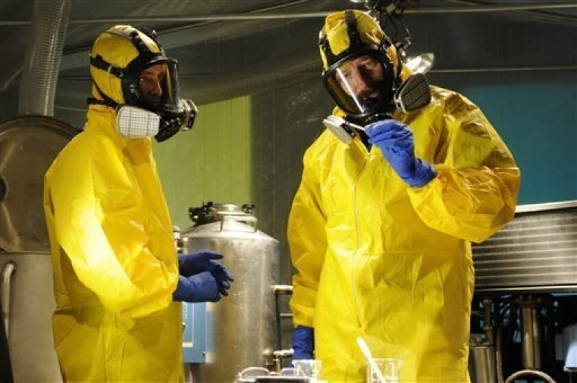 """This image released by AMC shows Jesse Pinkman, played by Aaron Paul, left, and Walter White, played by Bryan Cranston, cooking meth in a home being fumigated in the fifth season of """"Breaking Bad.""""  The series finale of the popular drama series aired on Sunday, Sept. 29. (AP Photo/AMC, Ursula Coyot"""
