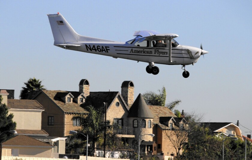 A plane lands at Santa Monica Airport. The Federal Aviation Administration ruled Friday that the embattled facility must stay open at least until 2023.