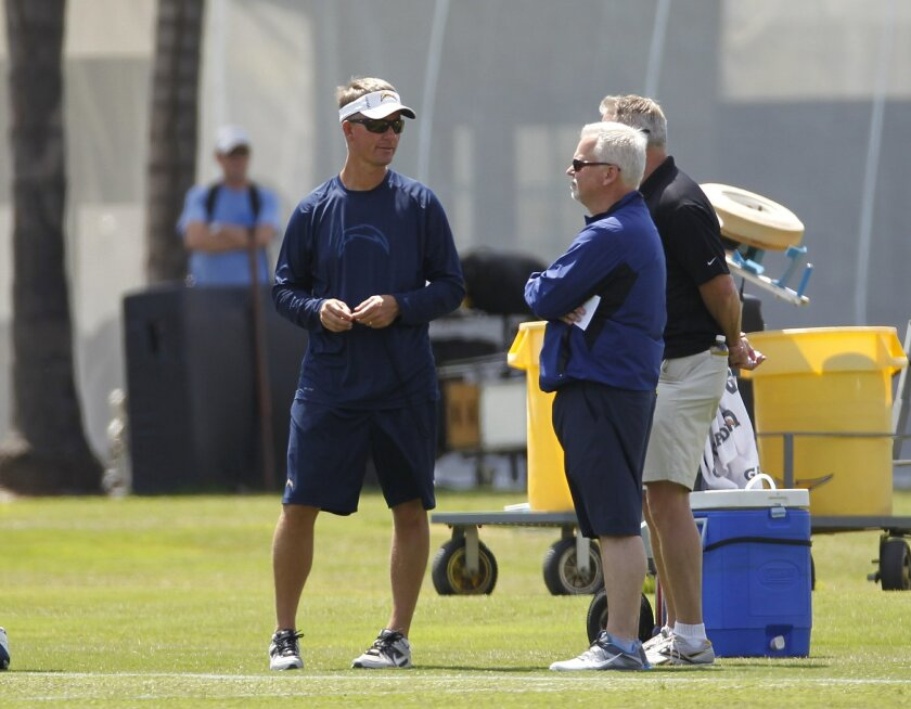 Head Coach Mike McCoy (left) during mini-camp at Chargers Park.