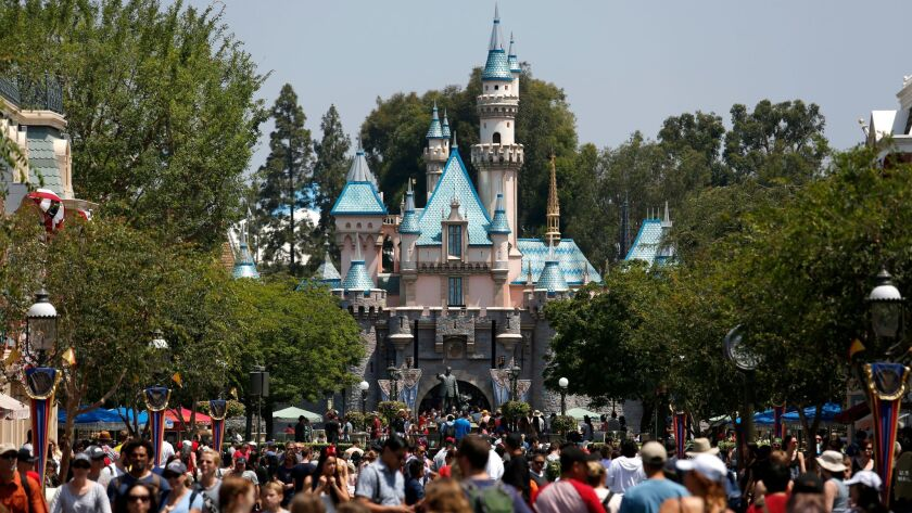 ANAHEIM, CALIF. -- FRIDAY, JUNE 30, 2017: Sleeping Beauty Castle looking down Main Street at Disneyl